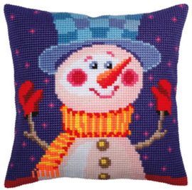 Kussen borduurpakket Cheerful Snowman - Collection d'Art    cda-5389
