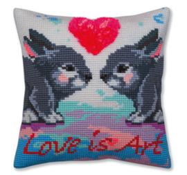 Kussen borduurpakket Love is Art - Collection d'Art    cda-5379