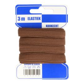 Blauwe kaart fleurig elastiek / 8 mm bruin