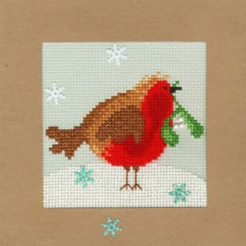 Borduurpakket Christmas Cards - Snowy Robin - Bothy Threads    bt-xmas14