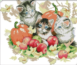 Cross Stitch / Four seasons cats - Autumn