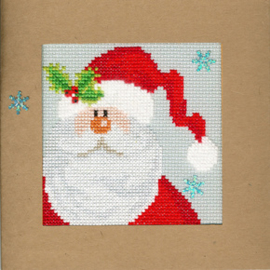 Borduurpakket Christmas Cards - Snowy Santa - Bothy Threads    bt-xmas15