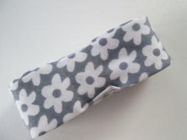 Bosje Biaisband met bloemen 20 mm / grijs wit
