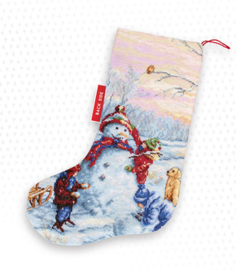 Borduurpakket Christmas Stocking Snowman - Luca-S    ls-pm1241