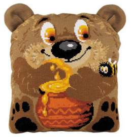 Borduurpakket Teddy Bear Cushion - RIOLIS    ri-1590