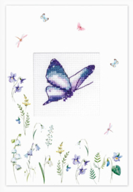 Borduurpakket Postcard - Butterfly Purple - Luca-S    ls-sp102