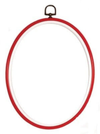Flexi borduurring ovaal met hangertje rood met wit / 19 bij 24 cm