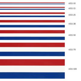 Nationaallint / Rood, wit, blauw lint / 10, 15, 25, 38, 50, 70 en 100 mm