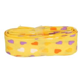Bosje biaisband met hartjes 20 mm / geel met hartjes