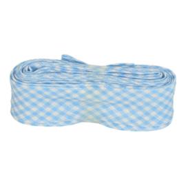 Bosje Biaisband met ruit ruitjes 20 mm / baby blauw