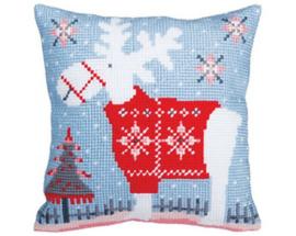 Kussen borduurpakket Christmas deer - Collection d'Art    cda-5356