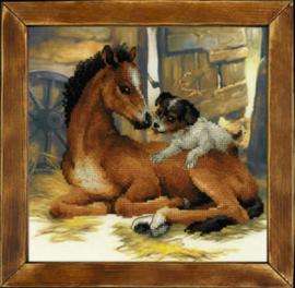 Borduurpakket Foal and Puppy - RIOLIS    ri-pt0052