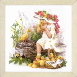 Borduurpakket Girl with Ducklings - RIOLIS    ri-1781