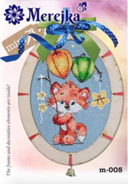 Borduurpakket Mini kit with wooden Frame - Fox - Merejka    mer-m005