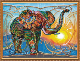 Kralen borduurpakket Mosaic Elephant - Abris Art    aa-ab-368