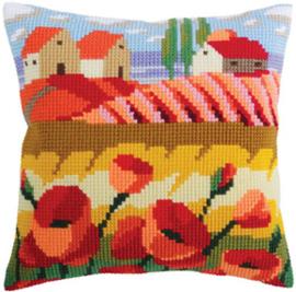 Kussen borduurpakket Poppy Field - Collection d'Art    cda-5320