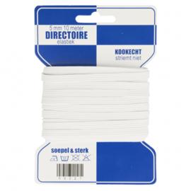 Blauwe kaart directoire elastiek 5 mm / 10 Meter / wit