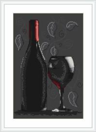 Borduurpakket Bottle of wine - Luca-S    ls-b2220