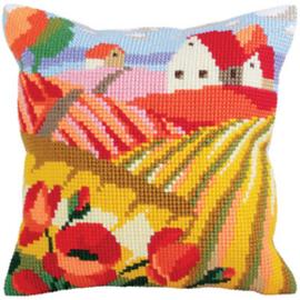 Kussen borduurpakket Poppy Field - Collection d'Art    cda-5321