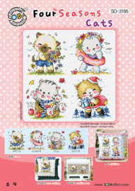 Borduurpakket Four Seasons Cats - The Stitch Company    tsck-so3195