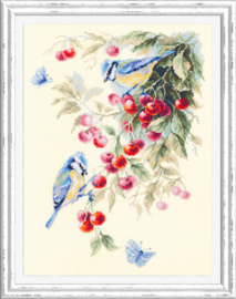 Borduurpakket Blue Tits and Cherry - Chudo Igla    ci-130-021