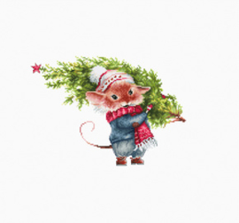 Borduurpakket Mouse with fir tree - Luca-S    ls-b1169