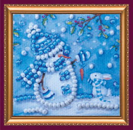 Kralen borduurpakket Snowman and Bunny - Abris Art    aa-amm-025