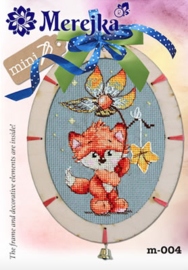 Borduurpakket Mini kit with wooden Frame - Fox - Merejka    mer-m004