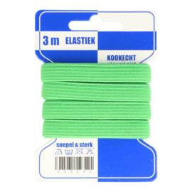 Blauwe kaart fleurig elastiek / 8 mm groen