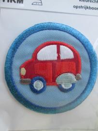 HKM Mode Applic. Rode auto in blauwe cirkel