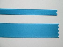 Satijnlint satin double face Deluxe  6 mm en 16 mm turquoise blauw 303