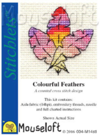 Borduurpakket Colourful Feathers - Mouseloft    ml-004-m14