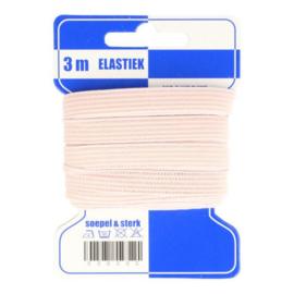 Blauwe kaart fleurig elastiek / 8 mm licht roze