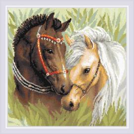 Diamond Mosaic Pair of Horses - RIOLIS    ri-am0039
