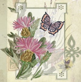 Voorbedrukt borduurpakket Thistle Bouquet - Needleart World    nw-nc650-031