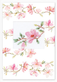 Borduurpakket Postcard Pink Flower - Luca-S    ls-sp084