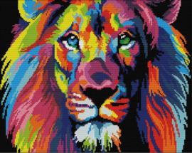 Cross Stitch / Coloured lion