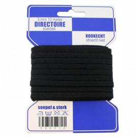 Blauwe kaart directoire elastiek 5 mm / 10 Meter / zwart