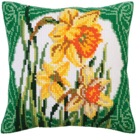 Kussen borduurpakket Narcissus - Collection d'Art    cda-5287