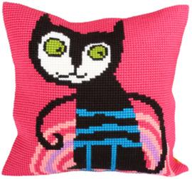 Kussen borduurpakket Escaped Cat - Collection d'Art    cda-5231
