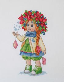 Borduurpakket Winter Girl - Merejka    mer-k105