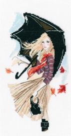 Borduurpakket Girl, Rain and Umbrella - RTO    rto-m00636