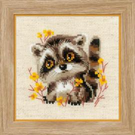Borduurpakket Little Raccoon - RIOLIS / Kleine Wasbeer  ri-1754