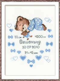 Borduurpakket Certificate Birth of Baby Boy - RIOLIS    ri-1124