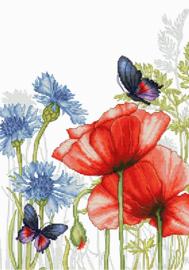 Borduurpakket Poppies and Butterflies - Luca-S    ls-bu4018