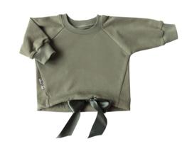 Oversized  sweater met satijnlint grijs groen