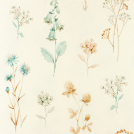 Bloemen blauw/bruin
