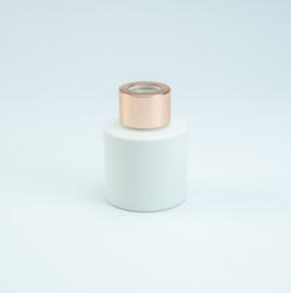 Wit parfumflesje cylinder - rose gold dopje