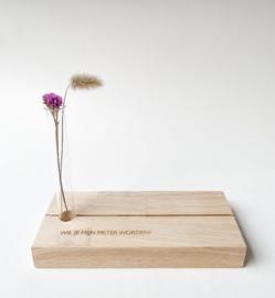 Fotoplankje met bloemenbuisje - Wil jij mijn meter worden?