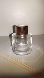 Parfumflesje cylinder - rose goud dopje